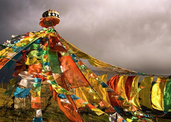 Chinese Culture Greeting Card featuring the photograph Stupa, Buddhist Altar In Tibet, Flags by Stefano Tronci