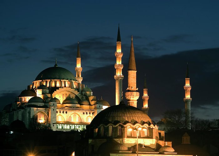 Istanbul Greeting Card featuring the photograph Suleymaniye Mosque Istanbul by Lebazele
