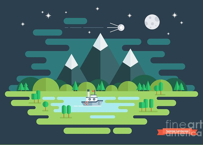 Ecosystem Greeting Card featuring the digital art Summer Night Landscape. Nature by Finevector