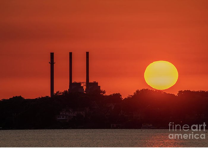 Summer Greeting Card featuring the photograph Summer Sunset By The Smokestacks by Amfmgirl Photography