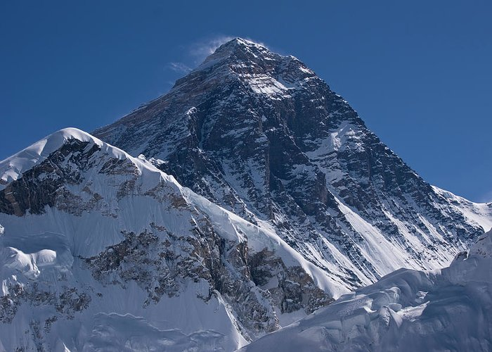 Scenics Greeting Card featuring the photograph Summit Of Mt Everest8850m Great Details by Diamirstudio