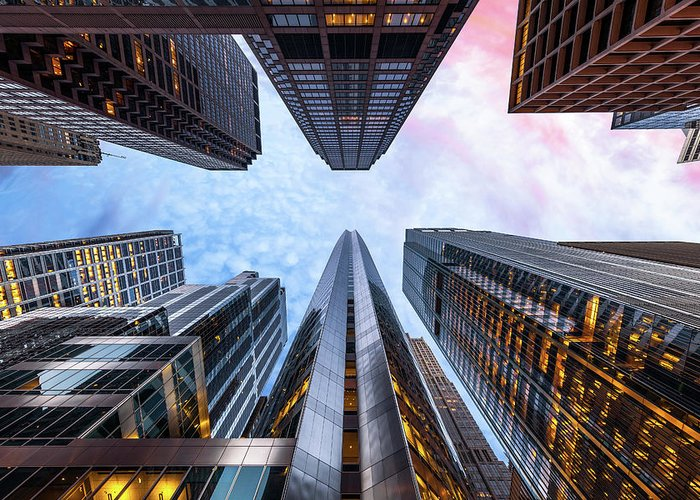 Directly Below Greeting Card featuring the photograph Sunrise, Looking Up, Chicago, Illinois by Joe Daniel Price