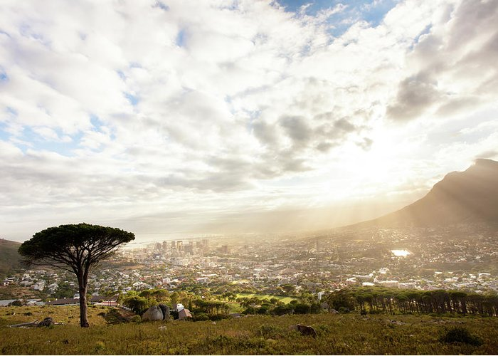 Scenics Greeting Card featuring the photograph Sunrise Over Cape Town South Africa by Epicurean