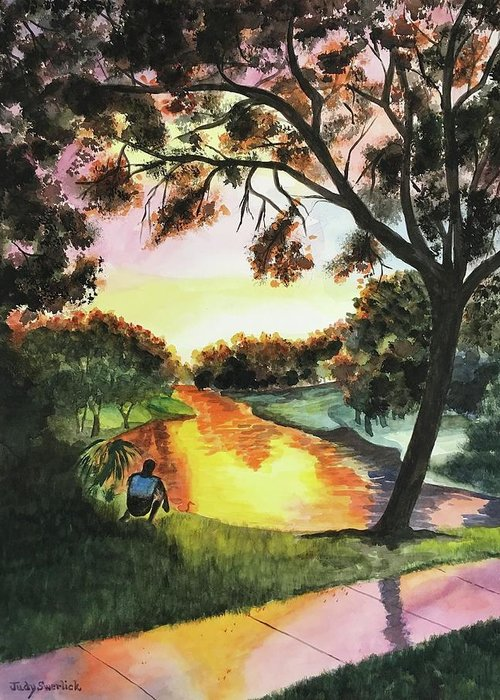 Sunset Greeting Card featuring the painting Sunset After the Rain by Judy Swerlick