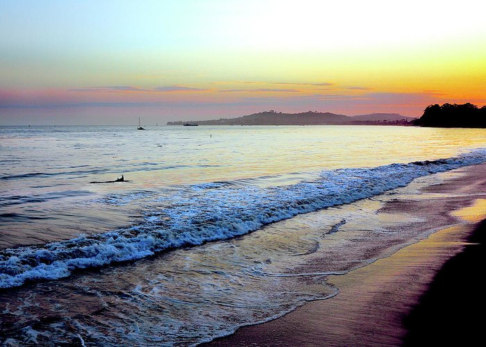 Tranquility Greeting Card featuring the photograph Sunset At Butterfly Beach, Santa by Geri Lavrov