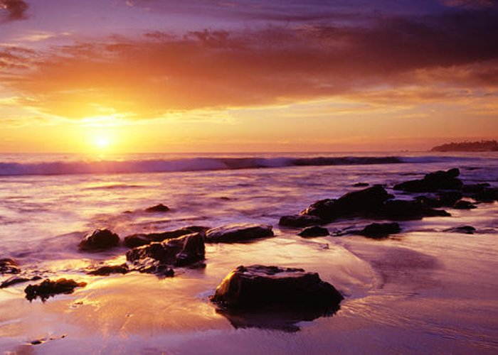 Scenics Greeting Card featuring the photograph Sunset At Laguna Beach by Jason v