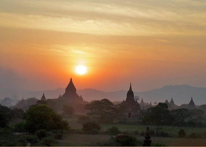 Tranquility Greeting Card featuring the photograph Sunset From Atop The Shwesandaw Paya by Jim Simmen
