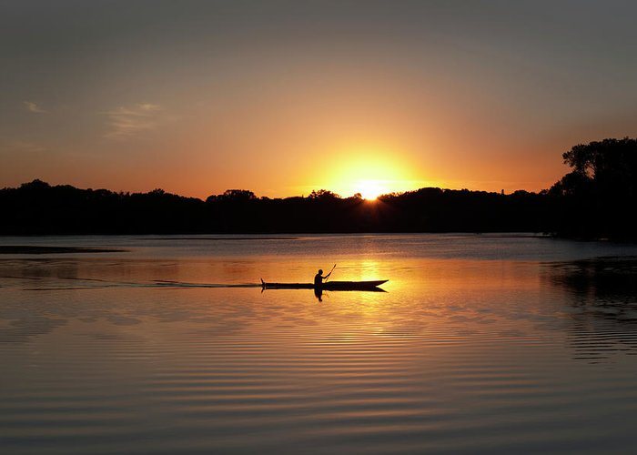 Water's Edge Greeting Card featuring the photograph Sunset Kayaking In Lake Of The Isles by Yinyang
