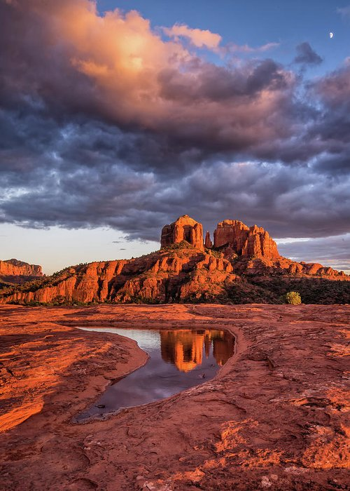 Red Rock Greeting Card featuring the photograph Sunset Light On Cathedral Rock by William Christiansen