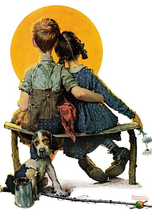 Benches Greeting Card featuring the drawing Sunset by Norman Rockwell