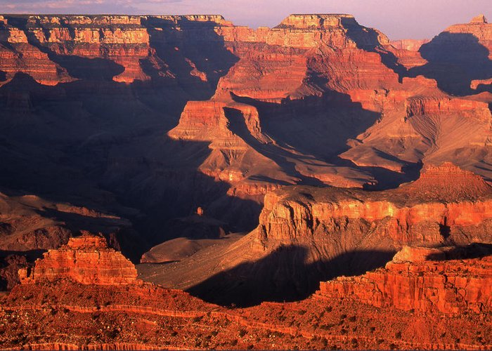 Toughness Greeting Card featuring the photograph Sunset Over Grand Canyon by By Tiina Gill