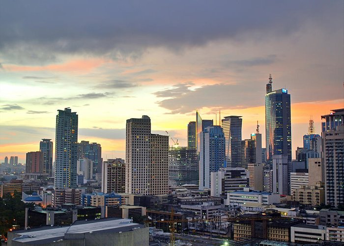 Outdoors Greeting Card featuring the photograph Sunset Over Makati City, Manila by Neil Howard