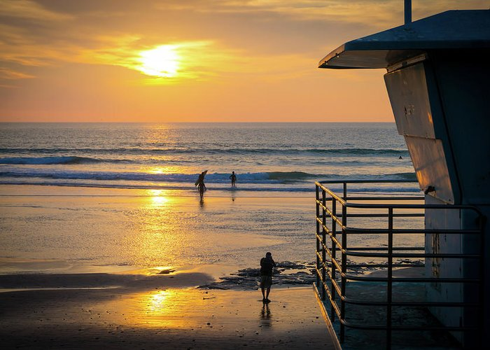 Surf Greeting Card featuring the photograph Sunset Photo Op by Richard A Brown