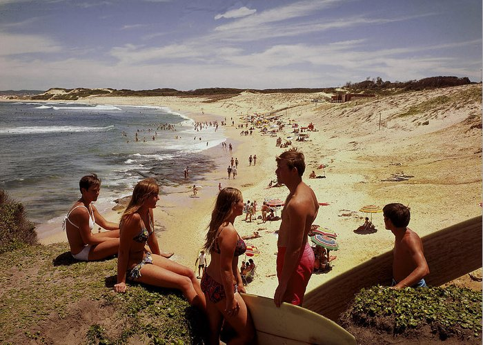 Equipment Greeting Card featuring the photograph Surfers & Girls In Bikinis, Soldiers by Robin Smith