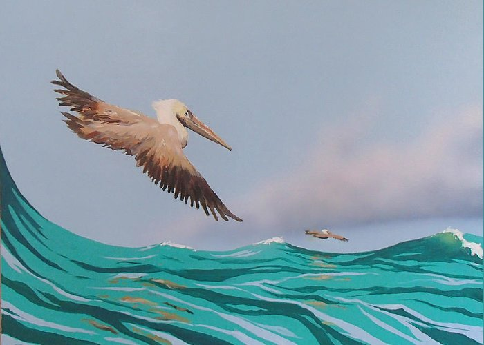 Pelicans Greeting Card featuring the painting Surfing by Philip Fleischer