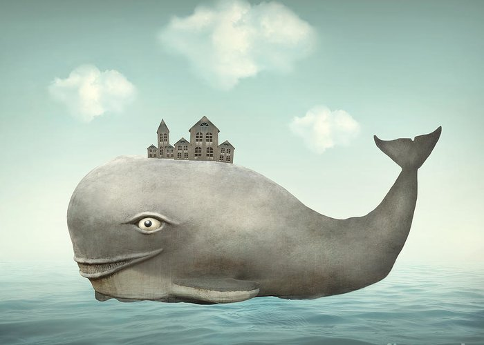 Big Greeting Card featuring the digital art Surreal Illustration Of A Whale In The by Valentina Photos
