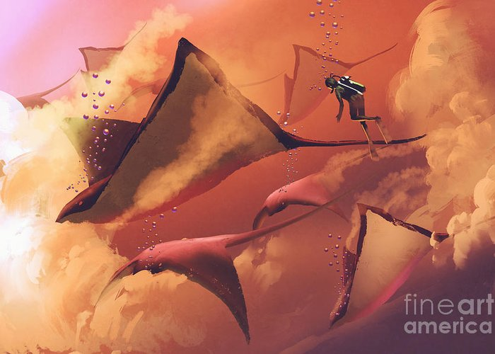 Fiction Greeting Card featuring the digital art Surreal World Concept Showing Diver And by Tithi Luadthong