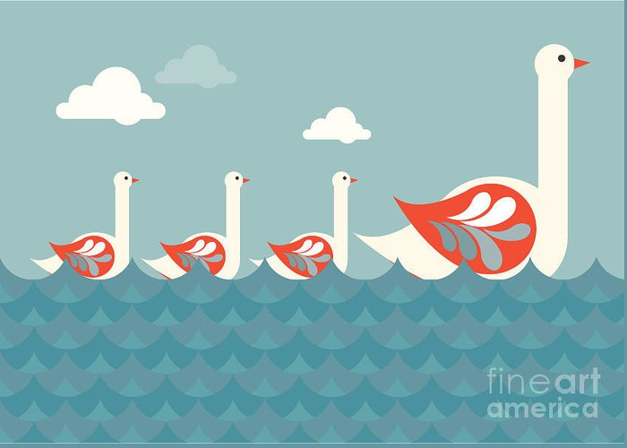 Sky Greeting Card featuring the digital art Swans Vectorillustration by Lyeyee