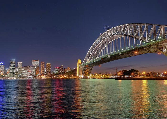 Built Structure Greeting Card featuring the photograph Sydney Harbor Bridge At Night, Sydney by Marco Simoni