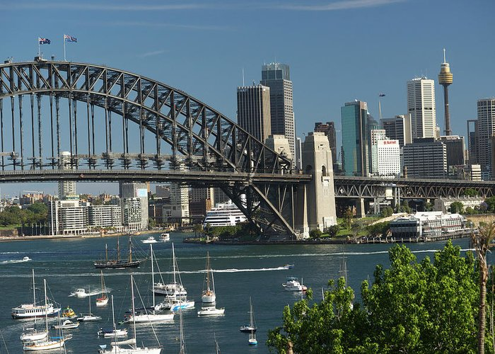 Sydney Harbor Bridge Greeting Card featuring the photograph Sydney Harbour, New South Wales by Robin Smith