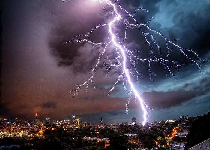 Tranquility Greeting Card featuring the photograph Sydney Summer Lightning Strike by Australian Land, City, People Scape Photographer