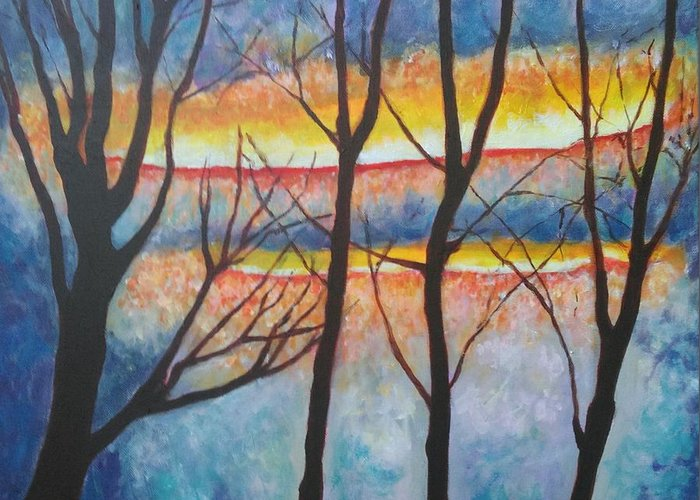 Trees Greeting Card featuring the painting Symphnic Trees by Caroline Cunningham