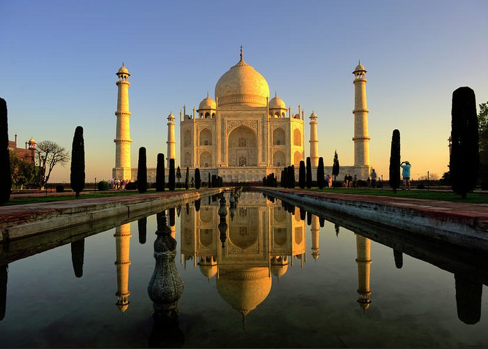 Clear Sky Greeting Card featuring the photograph Taj Mahal by Tayseer Al-hamad