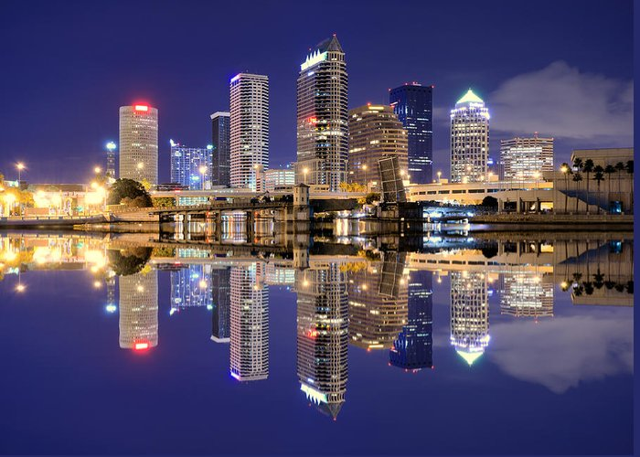 Downtown District Greeting Card featuring the photograph Tampa Bay Skyline by Sean Pavone