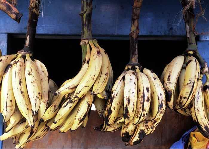 Hanging Greeting Card featuring the photograph Tanzania, Zanzibar, Bananas For Sale In by John Seaton Callahan