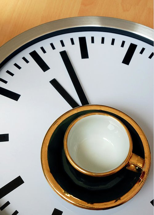 Coffee Greeting Card featuring the photograph Teacup On A Clock by Eversofine