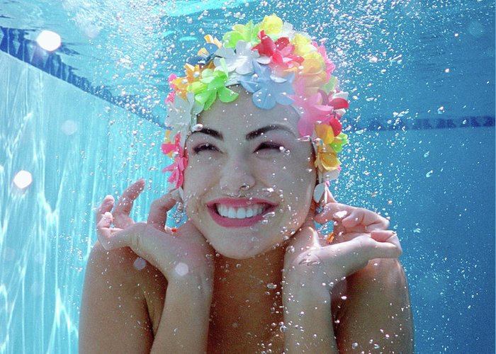 Underwater Greeting Card featuring the photograph Teenage Girl 16-18 Underwater In Pool by Nancy Brown