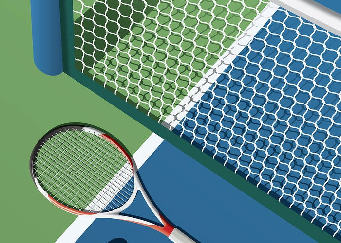 Play Greeting Card featuring the digital art Tennis Court by Nikola Knezevic
