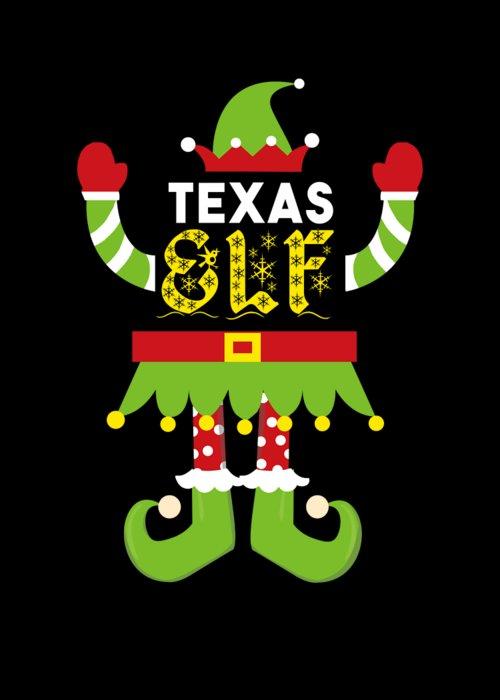 Christmas Greeting Card featuring the digital art Texas Elf Xmas Elf Santa Helper Christmas by TeeQueen2603