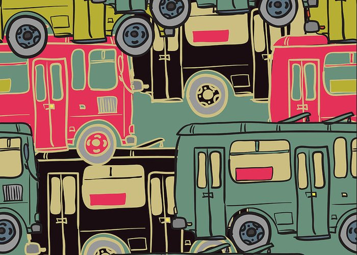 Bus Greeting Card featuring the digital art Textile Seamless Pattern Of Colored by Dark Ink