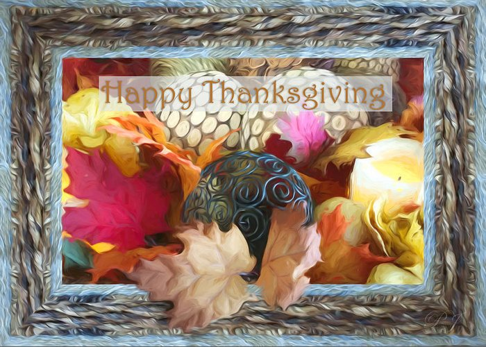 Thanksgiving Greeting Card featuring the digital art Thanksgiving Card by Pamela Perkins