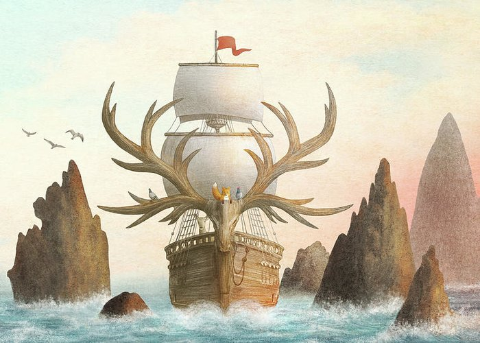 Ship Greeting Card featuring the drawing The Antlered Ship by Eric Fan