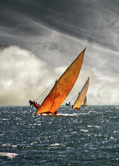 Kenya Greeting Card featuring the photograph The Art Of Swahili Dhow Racing by David Schweitzer