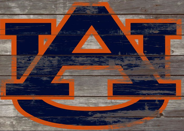 Auburn Tigers Greeting Card featuring the mixed media The Auburn Tigers 5a by Brian Reaves