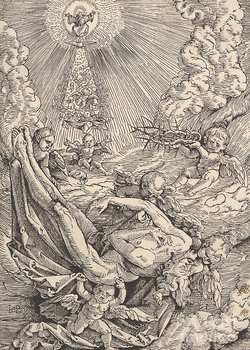 Christian Art Greeting Card featuring the drawing The Body Of Christ Carried By Angels Towards Heaven, 1516 by Hans Baldung Grien
