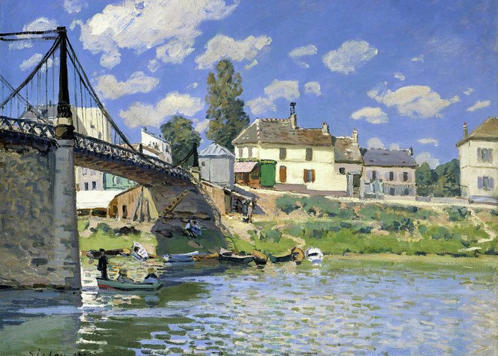 Alfred Sisley Greeting Card featuring the painting The Bridge At Villeneuve-la-garenne - Digital Remastered Edition by Alfred Sisley