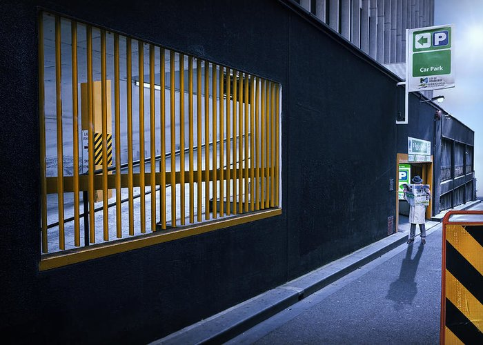 Melbourne Greeting Card featuring the photograph The Car Park by Adrian Donoghue