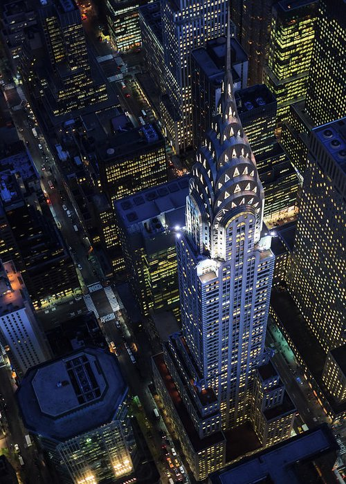 Downtown District Greeting Card featuring the photograph The Chrysler Building And Manhattan by Berthold Trenkel