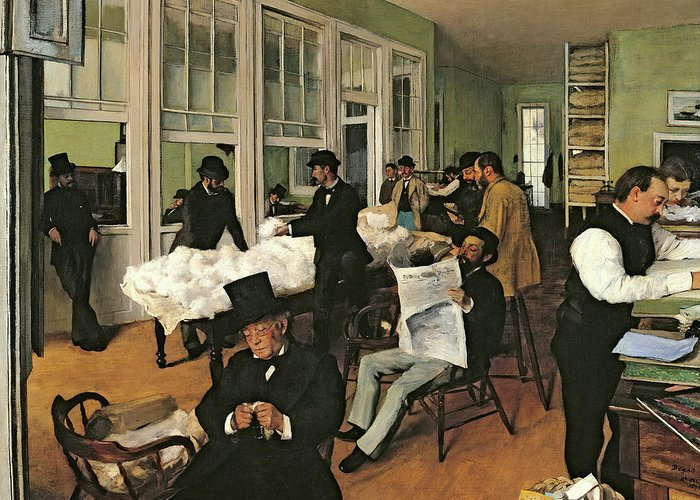 Edgar Degas Greeting Card featuring the painting The Cotton Exchange, New Orleans, 1873 by Edgar Degas