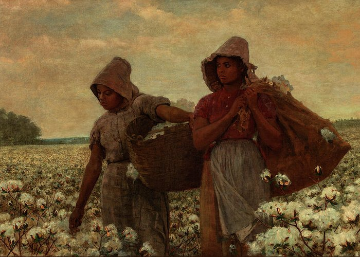 Winslow Homer Greeting Card featuring the painting The Cotton Pickers, 1876 by Winslow Homer
