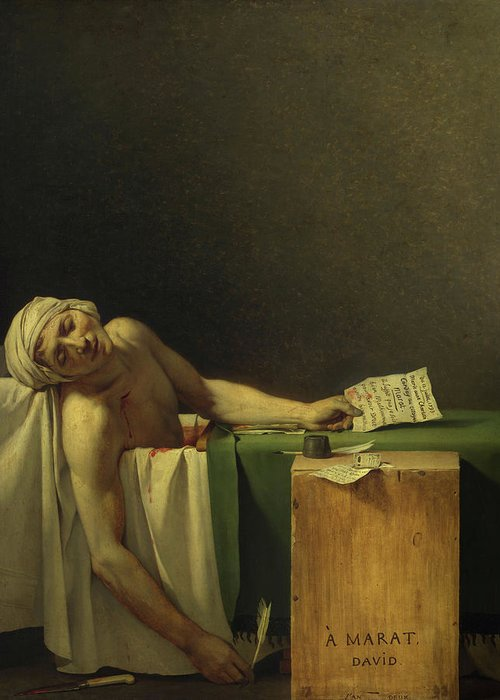 Jacques-louis David Greeting Card featuring the painting The Death Of Marat, 1793 by Jacques-Louis David