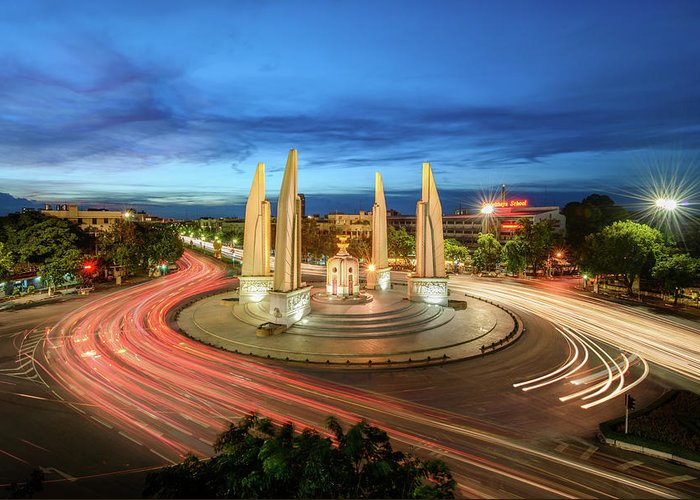 Built Structure Greeting Card featuring the photograph The Democracy Monument by Thanapol Marattana