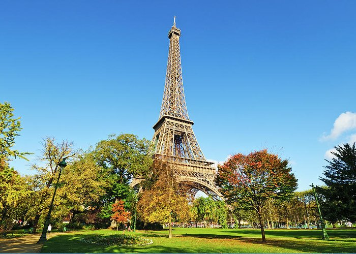 Clear Sky Greeting Card featuring the photograph The Eiffel Tower With Some Autumnal by Tom Bonaventure