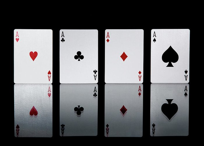 Risk Greeting Card featuring the photograph The Four Aces From A Pack Of Playing by Sasha Weleber
