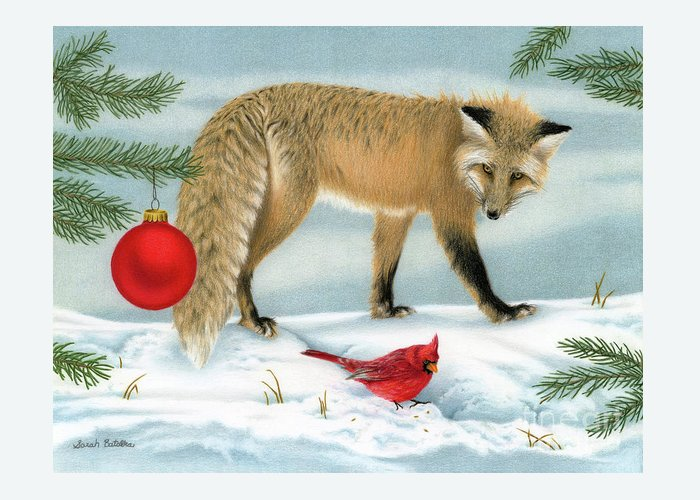 Christmas Greeting Card featuring the painting The Fox And The Cardinal by Sarah Batalka
