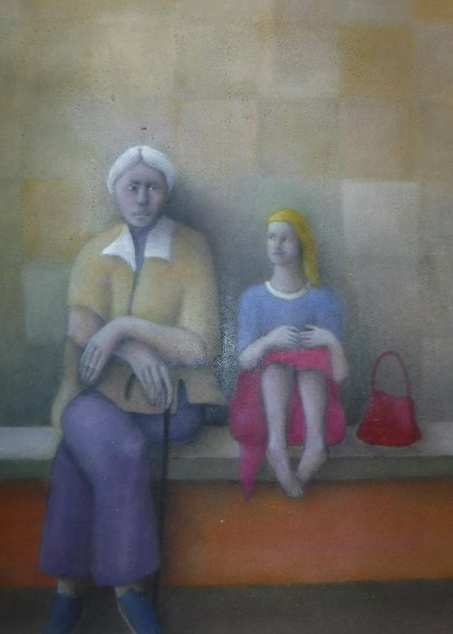 Figures Greeting Card featuring the painting The Grandmother by Alfredo DeCurtis